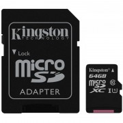 Micro SD Card, 64GB, KINGSTON microSDXC, Class10, UHS-I (SDC10G2/64GB)