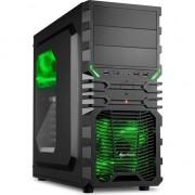Carcasa Sharkoon VG4-W, Midi Tower, ATX, 2 Porturi USB 2.0, 2 Porturi USB 3.0, Panou Acryl Lateral, Negru cu Verde