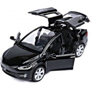 Emob Black 132 Die Cast Metal Body Telsa X 90D SUV Pull Back Car Toy with Light and Sound Effects (Multicolor)