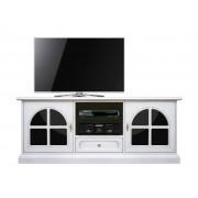 Meuble TV laqué avec plexiglass noir
