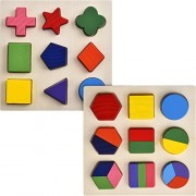 Skylety 2 Sets of Shapes Wooden Chunky Puzzle Kindergarten Geometric Shape Puzzles Sorting Game Early Development Educational Toys