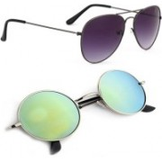 Phenomenal Aviator, Round Sunglasses(Black, Green)