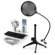 auna MIC-900S-LED USB Conjunto Microfone V2 | Microfone Condensador | Filtro Pop | Suporte p/Mesa