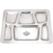 Taluka (15.7 x 11.9 in approx) Pure Stainless Steel 6 in 1 Compartment Plate Thali Bhojan Thali Steel Plate