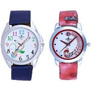 Multi Flowers And Red Peacock Feathers Girls Analogue Watch By Google Hub