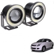 Auto Addict 3.5 High Power Led Projector Fog Light Cob with White Angel Eye Ring 15W Set of 2 For Maruti Suzuki Old Dzire