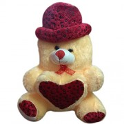Grapple Deals Soft Plush Traditional Stuffed Love Heart Teddy Bear with Cute Hat and Bow Tie for Kids and Loved Ones.(20 inch)