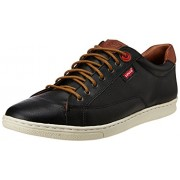 Levis Men's Tulare Low Lace Black Leather Sneakers - 6.5 UK