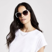 river island Womens White smoke lens glam sunglasses (One Size)