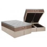 Conjunto Cama Box Baú - Colchão Probel de Molas Prolastic Guardian Pillow Euro + Cama Box Baú Nobuck Bege - Conjunto Box Queen Size - 158 x 198