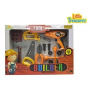 Little Treasures Builder 16pcs Pretend Play Deluxe Tools Set With Working Hand And Power Tools Including Power Drill/Screw Driver, Hand Saw, Pliers, Wheel Brace/Wrench, Clamp And Nuts And Bolts