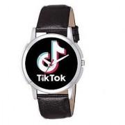 New Latest Fashion Tik Tok Silver Black Leather Original Brand Analog Watch For Men Boys