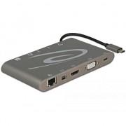 Cablu delock Docking station USB 3.1 tip C 4K (Gigabit, Mini DP, HDMI, VGA, USB 3.0, jack audio, micro SD/SD slot), Delock 87297