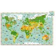 DJECO Tekturowe puzzle budowle świata 200 el. - mapa świata budowle i zwierzęta,