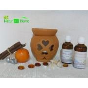 PACHET Candelă de aromaterapie și 2 sticluțe de uleiuri esențiale de 50 ml LAVANDĂ & PORTOCALĂ