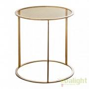 Masuta design vintage din metal auriu si grilaj metalic Dorada 20726 VH