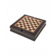 Set jocuri Sah Table Domino carti de joc si zaruri maro Everestus AV03FN lemn plastic saculet de calatorie inclus