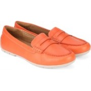 Clarks Un Terra Coral Leather Boat Shoes For Women(Orange)