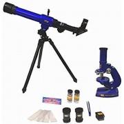 Science Set 2in1 | Microscoop & telescoop | blauwe verrekijker sterrenkijker