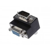 90 Degree VGA Male to Female Right Angle Port Saver Adapter