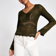 River Island Womens Khaki long sleeve crochet knit top (10)