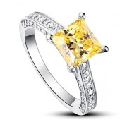 Inel Borealy Argint 925 Simulated Diamond 1.5 Carat Princess Cut Yellow Canary Marimea 5 5