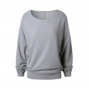 Spring Autumn Women Loose Shirt Knitted Bottom Shirts Pullover Plus Size Gray