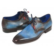 Paul Parkman Hand Painted Derby Shoes Blue & Brown 326-BLU