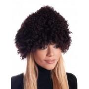 Кафява дамска шапка от естествена кожа
