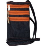 Yela Daily Use Trendy Mobile/Cell Phone Sling Passport Sling Blue Denim with Rust Chain with 3 Pockets Blue Sling Bag