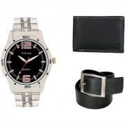 Crude Smart Combo Analog Watch-rg216 With Black Leather Belt Wallet