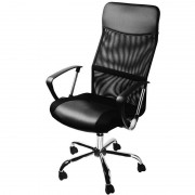 Fotel Obrotowy Biurowy Krzesło Biuro Siatka Skóra