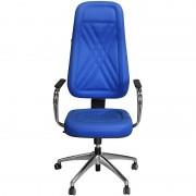 Cadeira Presidente Luxo Azul com Estrela e Braços Cromados - Pethiflex