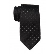 SAVILE ROW CO Quentin Metallic Dot Silk Blend Tie BLACK