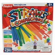 Roylco Straws and Connectors Building Kit - 8 inches - Pack of 230 - Assorted Colors