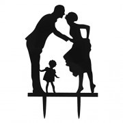 ELECTROPRIME Acrylic Silhouette Bride & Groom Kiss w/ Kid Wedding Anniversary Cake Topper