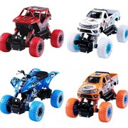 Monster Truck Toys Set, 1:32 Large Pull Back Play Vehicles, Friction Powered, Big Wheels Cars Model, Learning Gift for Age 2, 3, 4, 5, 6, 7 Year Olds Toddlers, Boys, Girls, Little Kids - iPlay, iLearn
