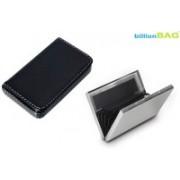 Billionbag New Steel Plain Premium ATM & Soft Black Leather Metal Waterproof Visiting 6 Card Holder(Set of 2, Multicolor)