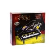 Zongora, fekete, elemes(3xAA), felvevős, 15 dallal, mikrofonnal, 30x27 cm dobozban