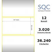 Etichette SQC - polipropilene trasparente (bobina), formato 57 x 30