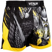 Pantaloni scurți bărbătești de box (fightshorts) Venum - Viking 2.0 - Black / Yellow - Venum-03414-111