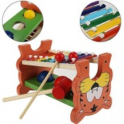 Kaluo Baby Kids Multicolor Wooden Xylophone & Pounding Bench Educational Development Learning Toy Musical Instruments for Toddlers Includes Pound Tap Table, Knock Ball, Mallets and Sticks
