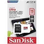 SanDisk microSDHC 16GB 98MB/s A1 Class 10 UHS-I Tablet Packaging SD Adapter Memory Zone App Ultra Android memorijska kartica SDSQUAR-016G-GN6TA SDSQUAR-016G-GN6TA
