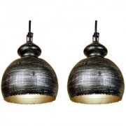 AH Black Color With Silver Shading Iron Pendant Light / Ceiling Lamp Ceiling Light / Hanging Lamp Hanging Light ( Pack of 2 )