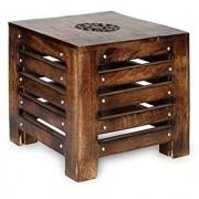 Desi Karigar Solid Wood Hand Carved Side Table