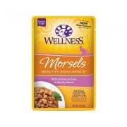 Wellness Healthy Indulgence Morsels with Salmon & Tuna in Savory Sauce Grain-Free Wet Cat Food Pouches, 3-oz, case of 24