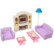 Huaheng Toys Barbie Size Dollhouse Furniture- Living Room With Tv/Dvd Set & Show Case