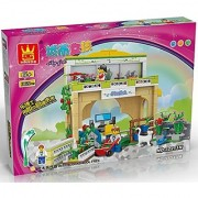 Quality florist shop building blocks 146pcs play set includes a rooftop garden with two gardening locations outside the