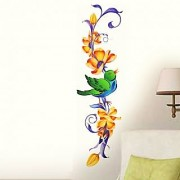 Walltola Pvc Vertical Floral Design Bird Wall Sticker (24X18 Inch)