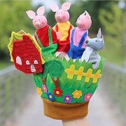 Neo Rising 3 Little Pigs Glove Wooden Cloth Finger Tips Puppets.